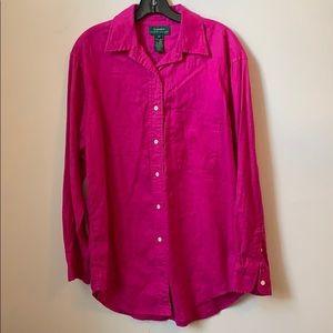 Lauren Ralph Lauren Pink Linen Shirt 10